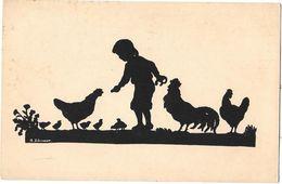 SILHOUETTE D'ENFANT Et POULES COQ Et POUSSINS - Par A. SCHIRMER - Ombres Chinoises - Voyagé En 1914 ACKERMANN à MUNCHEN - Silhouettes