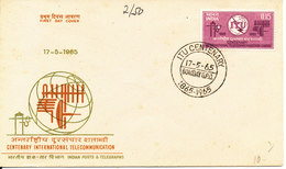 India FDC 17-5-1965 Centenary ITU With Cachet - FDC