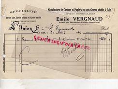 87-ST- SAINT LEONARD DE NOBLAT- FACTURE EMILE VERGNAUD AU GOT -MANUFACTURE CARTONS ET PAPIERS - CARTONNERIE PAPETERIE-19 - Old Professions