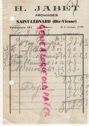 87-ST- SAINT LEONARD DE NOBLAT- FACTURE H. JABET- FROMAGES 1935 - Food