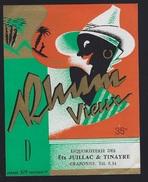 """étiquette Rhum  Vieux  Ets Juillac & Tinayre Craponne  Imp Nolasque N° 372  """"visage Chapeau"""" - Rhum"""