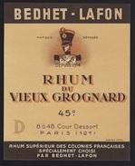"""étiquette Rhum Du Vieux  Grognard  Bedhet Lafon  Depuis 1814  """"soldat Napoléon"""" - Rhum"""