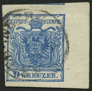 ÖSTERREICH 5Y O, 1854, 9 Kr. Blau, Maschinenpapier, Type IIIb, Mit Rechtem Rand (8 Mm), Leichte Bugspur Im Rand, Pracht - Österreich