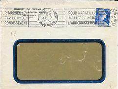 BOUCHES DU RHONE 13  -  MARSEILLE GARE  -  FLAMME N° MAR 813 R  - VOIR DESCRIPTION   -  1957 - Postmark Collection (Covers)