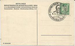 CARTE POSTALE 1924 AVEC CACHET BERLINER BRIEFMARKEN-AUSTELLUNG - Covers & Documents