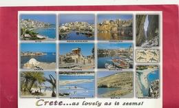 CPM.  CRETE . MULTIVUES . AFFR AU VERSO . 2 SCANES - Grèce