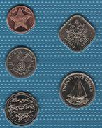 BAHAMAS COIN SET 5 MONNAIES 1 CENT - 25 CENTS 1992 -  2004 ANIMAL - Bahamas