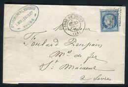 France - Lettre Sans Texte De Tours Pour Saint Maixent En 1876 - Ref D321 - Marcophilie (Lettres)