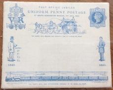 POST OFFICE JUBILEE UNIFORM  PENNY POSTAGE 1890 CARROZZA CON CAVALLI TRENO LOCOMOTIVA E VAGONI - Poste & Postini