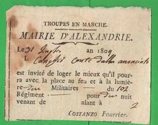 Napoléone Napoleone Alexandrie - Fourrier - 31 Luglio 1807 - Documentos