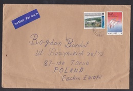 Mauritius: Airmail Cover To Poland, 2 Stamps, Sugar Cane Factory, French Revolution, Air Label (minor Creases) - Mauritius (1968-...)