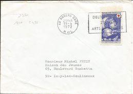 Jeune Fille Au Petit Chien, Y&T N°1700, Oblitération:ANGERS Gare 1972 Maine Et Loire - Marcophilie (Lettres)