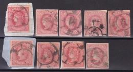 Año 1864 Edifil 64 Sello 4c Isabel II   9 Sellos  Matasellos Rueda De Carretas Varias - Used Stamps