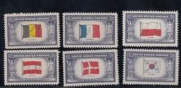 Lot Of 6, Sc#909 Poland 914 Belgium 915 France 919 Austria 920 Denmark 921 Korea Over-run Countries WWII Flags - United States
