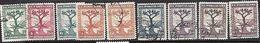 Turkey  1931 Sc#728-36 Olive Tree Set Used   2016 Scott Value $5.25 - 1921-... République
