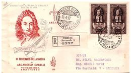 Fdc Venetia TRIESTE: CORELLI 1953;Raccomandata - Storia Postale