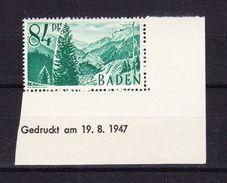 Baden, Mi 12, Hoellental, Druckdatum 19.8.1947, Postfrisch (44393) - Zone Française