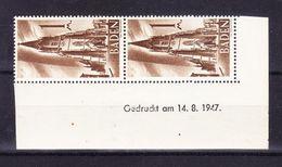 Baden, Mi 13, Freiburg Muenster, Druckdatum 14.8.1947, Postfrisch (44394) - Zone Française