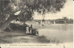 TOULOUSE , Les Bords De La Garonne Et Le Pont Saint Michel , CPA ANIMEE - Toulouse