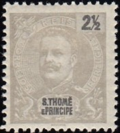 ST. THOMAS & PRINCE ISLAND - Scott #39 King Carlos / Mint H Stamp - St. Thomas & Prince