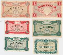 1914-1918 // C.D.C. // EURE-&-LOIRE // 3 Bons De 1 Franc + 2 Bons De 50 Centimes // EPINAL 50 Centimes - Chambre De Commerce