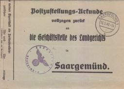 Certificat De Remise Obligatoire En PP Avec Lettre De Signification De Sarguemines (Saargemünd 1 H) Le 10/5/43 - Marcophilie (Lettres)