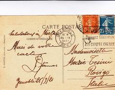 Grenoble To Rovigo Su Post Card  1921 - Storia Postale