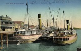 Australia, PORT RIVER, Adelaide, S.A., Harbour Scene With Steamers (1912) Postcard - Adelaide