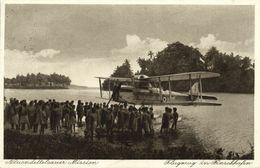 German New Guinea, FINSCHHAFEN, Morobe, Seaplane, Papua Natives (1933) Mission Postcard - Papua-Neuguinea