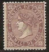 1868-ED. 98 ISABEL II 50 MILESIMAS VIOLETA - NUEVO -MH- GOMA TONALIZADA- - 1850-68 Kingdom: Isabella II