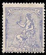 1873-ED. 137 I REPÚBLICA - ALEGORÍA DE ESPAÑA - 50 CENT. ULTRAMAR -NUEVO-MH- - 1873 1ª República