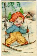 BUON ANNO  Bambina Con Sci Ski  Paesaggio Innevato   Sign MB Cooper - Anno Nuovo