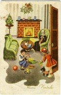 BUON NATALE  Scenetta Familiare Caminetto Nonna Lavora A Maglia Bimbi Scartano I Regali  Cane  Vischio E Abete Di Natale - Altri