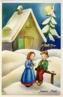 JOYEUX NOEL  Bimbo Suona Piffero Bambina Ascolta  Paesaggio Con Casa Innevato  Luna Piena - Natale