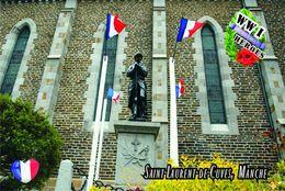 Carte Postale, Militaria, Monuments, World War I Monuments, France (Manche), Saint-Laurent-de-Cuves - Monuments Aux Morts