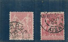 France - Type Sage - 50cts Rose Pale Et Rose Très Vif /rose  - N° 98 - 2 Belles Nuances Marquées - 1876-1898 Sage (Type II)