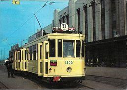 Bruxelles (1210) - TRAM : Motrice 1400 (1935) Et Remorque (1928-31) En Attente Au Terminus De La Gare Du Nord, Vers 1960 - Vervoer (openbaar)