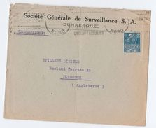 1931 FRANCE Societe Generale De SURVEILLANCE COVER Dunkerque To Spillers Ltd Plymouth GB Colonial Expo Stamps - France