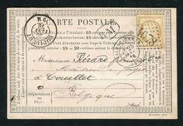 Belle Carte Précurseur De Raismes Par Valenciennes Pour Couillet ( Belgique 1876 ) - Postmark Collection (Covers)