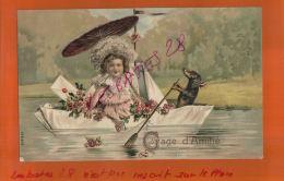 CPA CHROMOS -FANTAISIE  CHROMO   GAGE D'AMITIE   PLAN GAUFFRE     Fillette En Bateau , Chien Rameur, DEC  2017 340 - Fancy Cards