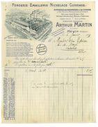 FACTURE - FONDERIE EMAILLERIE NICKELAGE - ARTHUR MARTIN - REVIN 09 - 1909 - 1900 – 1949