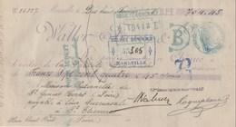 CHEQUE DE 704F45 WALLER FRERES MARSEILLE 18/2/1898 POUR ST ETIENNE - Chèques & Chèques De Voyage