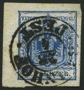 ÖSTERREICH 5X O, 1850, 9 Kr. Blau, Handpapier, Linkes Randstück, K2 BAHNHOF PEST, Pracht - Österreich