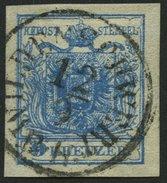 ÖSTERREICH 5X O, 1850, 9 Kr. Blau, Handpapier, Zentrischer Vollständiger K1 WILDENSCHWERT B.H., Kabinett, R! - Austria