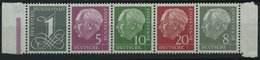 BUNDESREPUBLIK 179-285Y **, 1960, Heuss Wz. Liegend Im Fünferstreifen, Pracht, Mi. 70.- - BRD