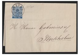 SUEDE --1869 -- LETTRE DEBASTAD POUR STOCKHOLM -- 12ÖRE - Suède