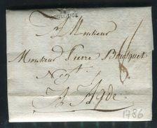 France - Lettre Avec Texte De Toulouse Pour Adge En 1786 - Ref D338 - Marcophilie (Lettres)