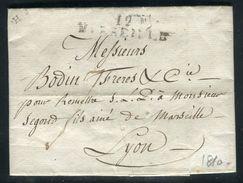 France - Lettre Avec Texte De Marseille Pour Lyon En 1810 - Ref D339 - Marcophilie (Lettres)