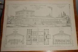 Plan D'un Lavoir Public De Leopoldstadt à Vienne. Autriche. . 1855. - Travaux Publics