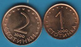 BULGARIA 1 + 2  Stotinki 2000 KM# 237a / 238a - Bulgaria